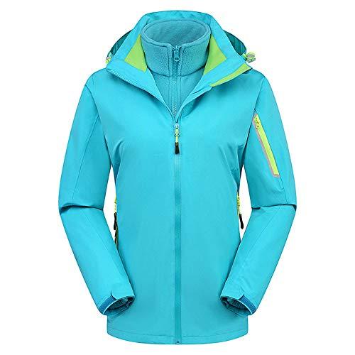 Byyong Woman's Winter New Lightweight Long Sleeve Zipper Hooded Jacket Outdoor Outfit Windbreak Warm Coat(S, Sky Blue)]()