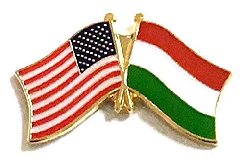 Pack of 12 Hungary Flag Lapel Pins, Hungarian Crossed Double Friendship Flag Pin ()