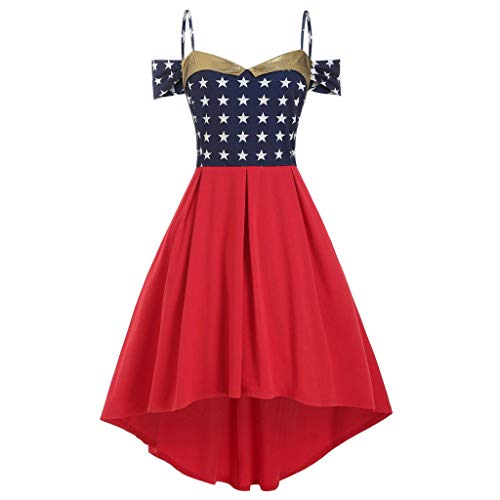 WILLBE Women's Sleeveless American Flag July 4th Flag Print Dress Vintage Dress Skirt High and Low Irregular Dress - Womens Skirt Covington
