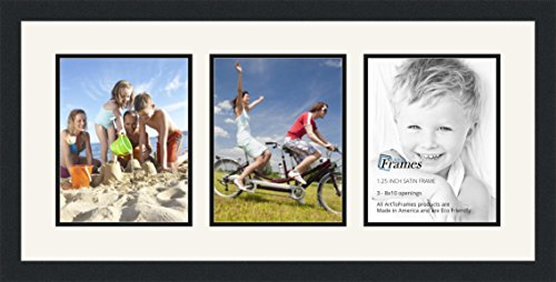 ArtToFrames Collage Photo Frame Double Mat with 3 - 8x10 Openings and Satin Black - Viii Satin