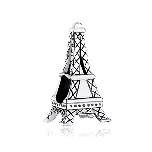 LovelyCharms 925 Sterling Silver France Landmark Paris Eiffel Tower Travel Charm Fit Bracelets