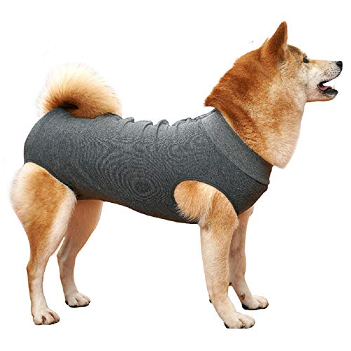 Due Felice Dog Professional Surgical Recovery Suit for Abdominal Wounds Skin Diseases, After Surgery Wear, E-Collar Alternative for Dogs, Home Indoor Pets Clothing Grey XS from Due Felice
