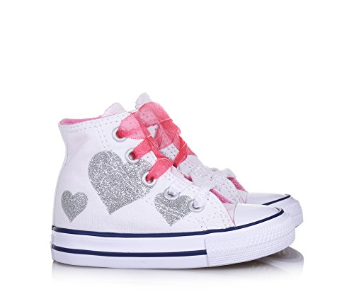 Converse Scarpe Sneakers Chuck Taylor All Star Hi Bambine Bianco 760971C-WHITE/H White Hot Pink
