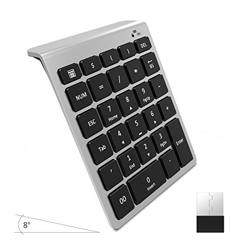 Laptop Keypad (Wireless Number Pad, Vive Comb 28-Key External Numeric Keypad Slim Numpad Full Size with Shortcuts for Laptop, Desktop, PC, Notebook-Black and Silver)