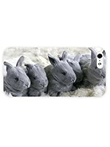 3d Full Wrap Case For Iphone 5/5S Cover Animal Gray Bunnies