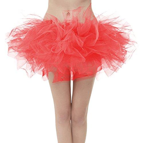 Girstunm Women's Classic Layers Fluffy Costume Tulle Bubble Skirt Watermelon-Standard Size