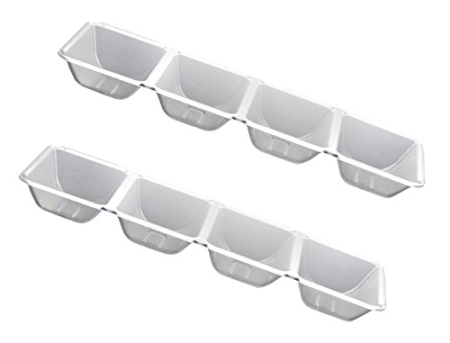 Party Essentials Hard Plastic 4-Compartment Rectangular Serving Trays, 5 x 16 Inches, Crystal Clear, 2-Pack (Tray Four Compartment)