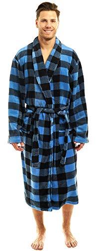 Men's Luxurious Robe-Plush Warm Lounging Kimona-Shawl Collar in Bold Plaids Blue (Camo Mens Bathrobes)