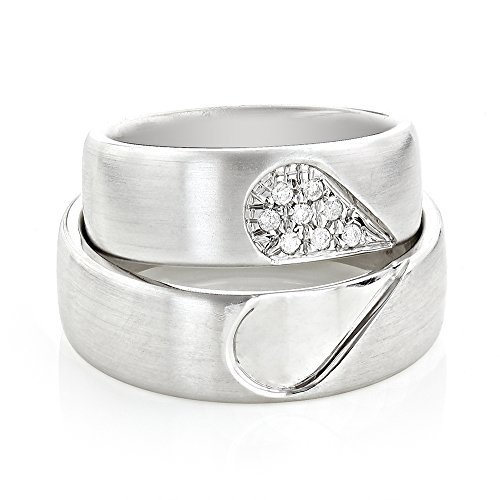 Luxurman Unique 14K Gold Matching His and Hers Diamond Wedding Band Set (White Gold Size 5.5)