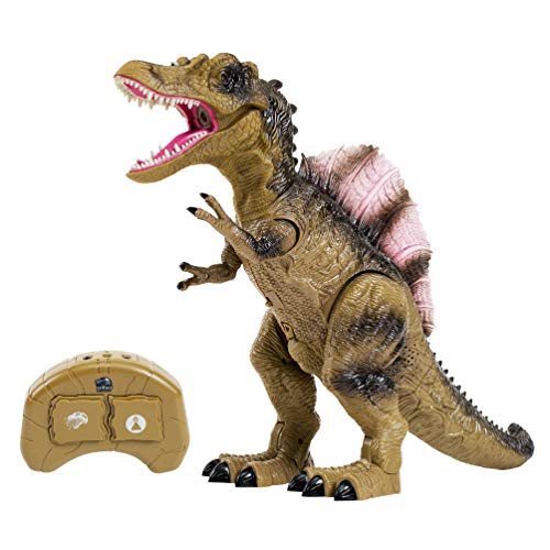 (Remote Control Dinosaur Toy for Kids with Roaring Sounds and Smoking Breath. RC Spinosaurus Dino with Glowing Eyes, Walking Movement, Shaking Head.)