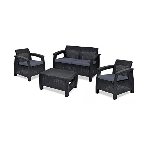 Keter Corfu 4 Piece Set All Weather Outdoor Patio Garden Furniture w/ Cushions, Brown - Contemporary design and ergonomic comfort courtesy of a rich, open-weave rattan design Set includes a large loveseat, 2 armchairs, and coffee table Loveseat sits two comfortably, while each armchair seats one - patio-furniture, patio, conversation-sets - 41YJzrYA36L. SS570  -
