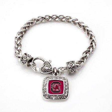 South Carolina Gamecocks Classic Silver Plated Square Crystal Charm Bracelet - South Carolina Logo Square