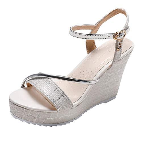 (YKARITIANNA Women Platform Wedges Waterproof Sandals High Heel Shoes Non-Slip Sandals Shoes 2019 Summer Beige)