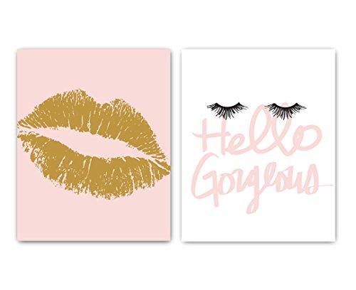 Fashionista Prints - Set of 2 UNFRAMED Lips & Lashes Wall Art Decor Prints ()