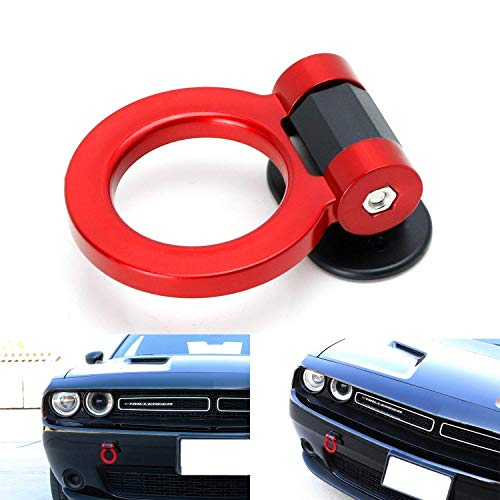 iJDMTOY (1 Universal Red Ring Track Racing Style Tow Hook Look Decoration for Any Car SUV Truck (Not Functional, Decorative Purpose ONLY)