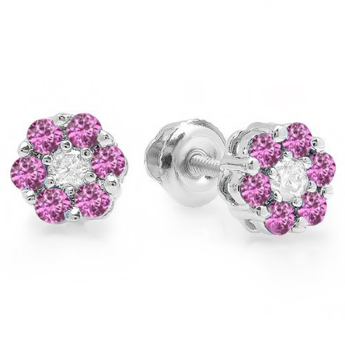 Dazzlingrock Collection 18K Round Cut White Diamond & Pink Sapphire Ladies Cluster Flower Stud Earrings, White Gold