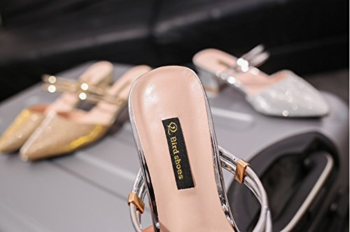 Sandalias Puntiagudas Desgaste Sandalias Libre Muler Aire Zapatillas Tacón Femenino Al De 2018 Dos De Zapatos Delgadas Alto B Baotou Gruesas Nuevas Zapatillas con RqY0R