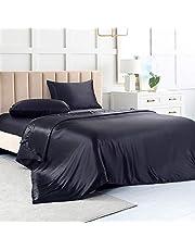 Satin Sheets King, Black Silk Sheets, Soft Silk Bed Sheets with 1 Deep Pocket Fitted Sheet & 1 Flat Sheet & 2 Silky Satin Pillowcases