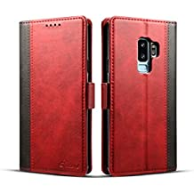 Samsung Galaxy S9 Plus Cover Leather,TACOO Double Color Block Soft Pu Slim Kickstand Protective Credit Card Money Slots Phone Back Case Shell for Galaxy S9 Plus 2018-Red