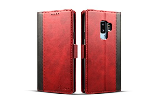 Samsung Galaxy S9 Cover Leather,TACOO Double Color Block Soft Pu Slim Kickstand Protective Credit Card Money Slots Phone Back Case Shell for Galaxy S9 2018-Red