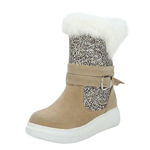 Mee Schuhes Damen halbschaft Pailletten runde Schneestiefel Aprikose ... ... ... 29d16b