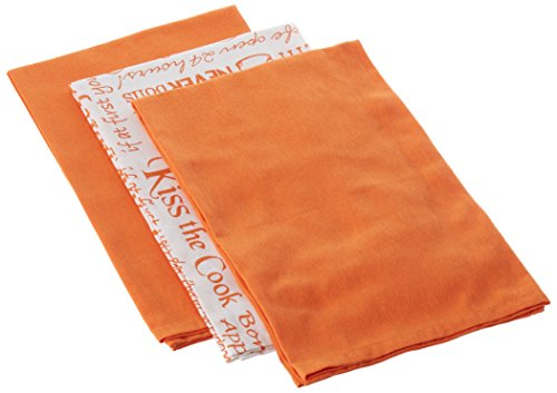 Kay Dee Designs Cook Collection Flour Sack Cotton Towels, 26-Inch by 26-Inch, Orange, Set of 3