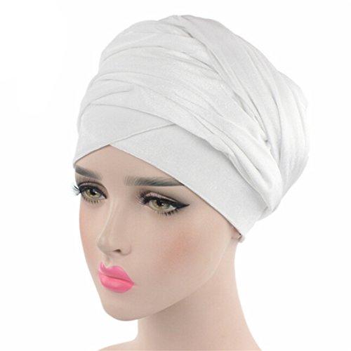 CH Women Earwarmers Velvet Headwrap Hair Band Turban Bandana Bandage Head Wrap Long Tube Scarf (White)