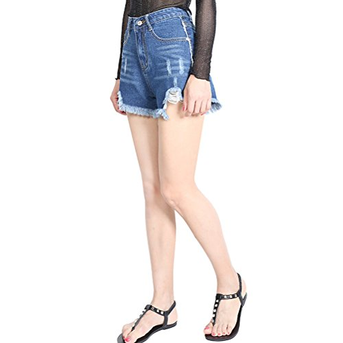 Zhuhaitf Popular Fashionable Juniors Ladies Destroyed Ripped Broken Denim Enthusiasm Shorts Jeans Light Blue