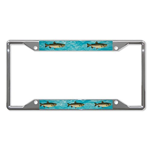 License Plate Covers Lake Trout Fishing Chrome Metal License Plate Frame Holder Four Holes