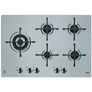 Electrolux EGS 7658 SXX Integrado Encimera de gas Gris - Placa (Integrado, Encimera de gas, Gris, hierro fundido, Giratorio, Parte superior delantera)