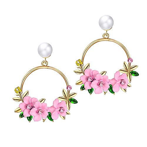 Shining Diva Fashion Latest Design Stylish Floral Pearl Earrings For Women and Girls