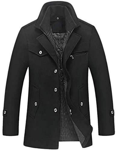 ARRIVE GUIDE Mens Wool Blend Warm Padded Business Winter Outwear Pea Coats Black Small