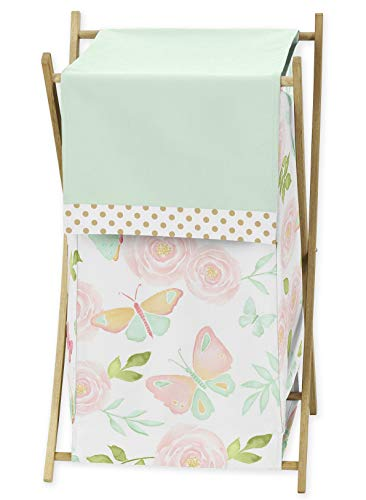 Sweet Jojo Designs Blush Pink, Mint and White Watercolor Rose Baby Kid Clothes Laundry Hamper for Butterfly Floral Collection