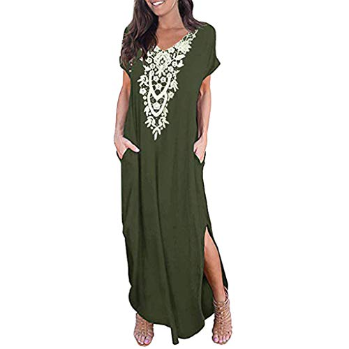 (Dressin Vintage Bohe Long Dress Fashion 2019 V Neck Short Sleeve Side Split Pocket Long Maxi Dress for Women Green)