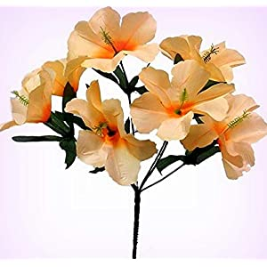 Inna-Wholesale Art Crafts New 5 Hibiscus Peach Silk Decorating Flowers Bridal Bouquets Centerpieces Decoration - Perfect for Any Wedding, Special Occasion or Home Office D?cor 19