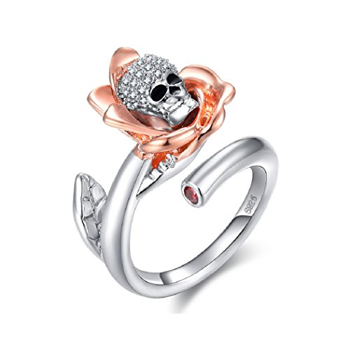 Uloveido Skull Rings Vintage Rose Gold Flower - Clear Cubic Zirconia Adjustable Rings White Gold Plated Wedding Band for Women -