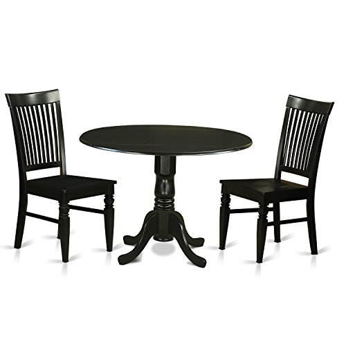 East West Furniture DLWE3-BLK-W 3 Piece Dinette Table and 2 Dining Room Chairs Set