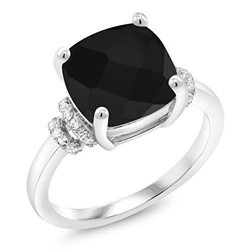 3.89 Ct Cushion Checkerboard Black Onyx 925 Sterling Silver Ring by Gem Stone King