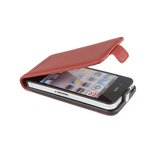 Snakehive® Apple iPhone 4 / 4S Cuero Laminado Funda volteable para Apple iPhone 4 / 4S (Color Negro) Bermejo