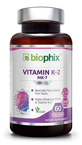 Vitamin K2 MK 7 300 mcg 60 Vcaps High Potency | Strong Bones | Immune Health | Support for D3