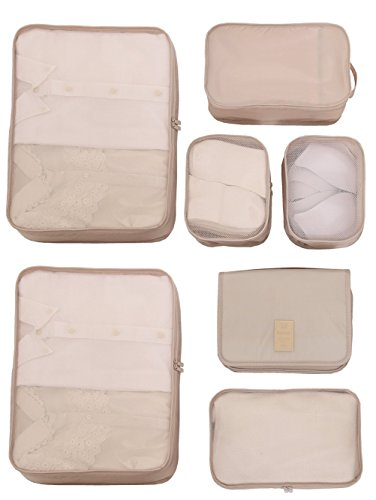 Travel Packing Cubes 7 Set, JJ POWER Luggage Organizers with toiletry kit shoe bag (Beige)