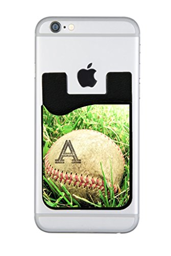 Worn Out Baseball in the Grass Rosie Parker Inc. CUSTOMIZABLE Black Silicon Card Holder for Cell Phones Baseball Cell Phone Holder