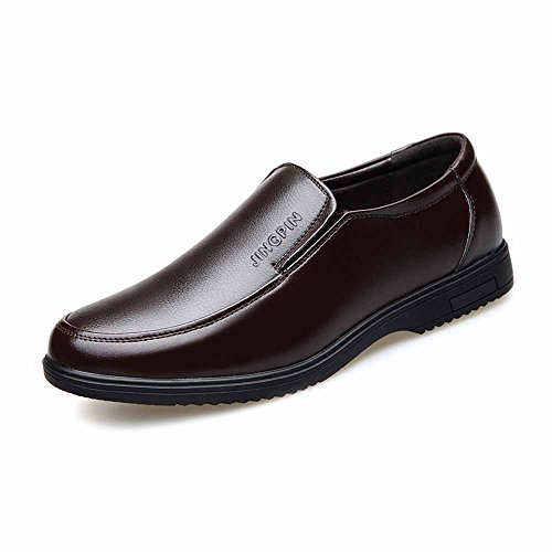 Casual Slip Uomo Scarpe Marrone Oxfords PU for Sole Yaojiaju Flats Leather on Gentlemen Soft Business Mocassini da 5XwI8q