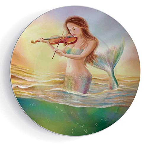 iPrint 6' Porcelain Dinner Plate with Stand Mermaid Round Mermaid Playing Violin at Sunset View Colorful Realistic Design Soft Dreamlike