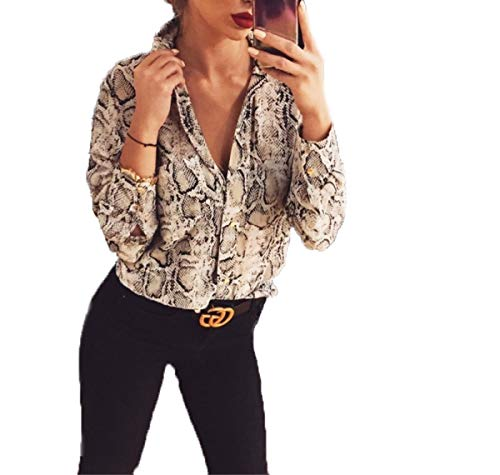 Women's V-Neck Long Sleeve Leopard Print Shirt Ladies Casual Button Down Work Blouse Tops (Tag L, Snake ()