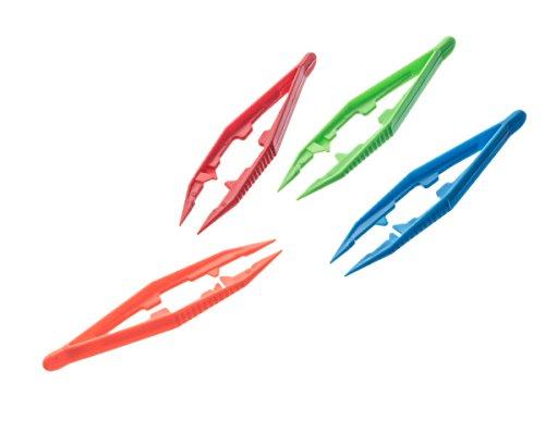 SE 364PT12 Plastic Tweezers Assorted Colors (12 Pack), (Plastic Color)