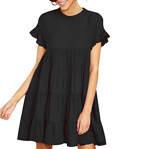 - Joteisy Women's O Neck Ruffle Sleeve Tiered Casual Mini Dress (XL, Black)