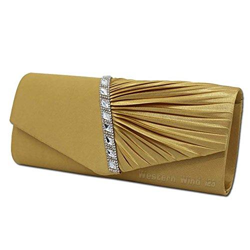 Evening Elegant Wocharm Gold Bridal Womens Purse Crystal Crossbody Clutch Handbag Studded Pleated Satin Ladies wedding PxxwgdC