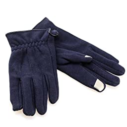 Ruched Cuff Touch Screen Gloves (Blue)