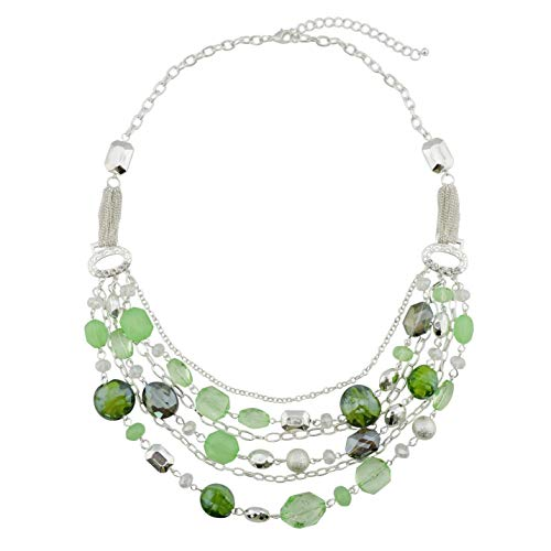 Bocar Newest Multi Layer Chain Crystal Colored Glaze Statement Women Necklace (NK-10061-Light Green)